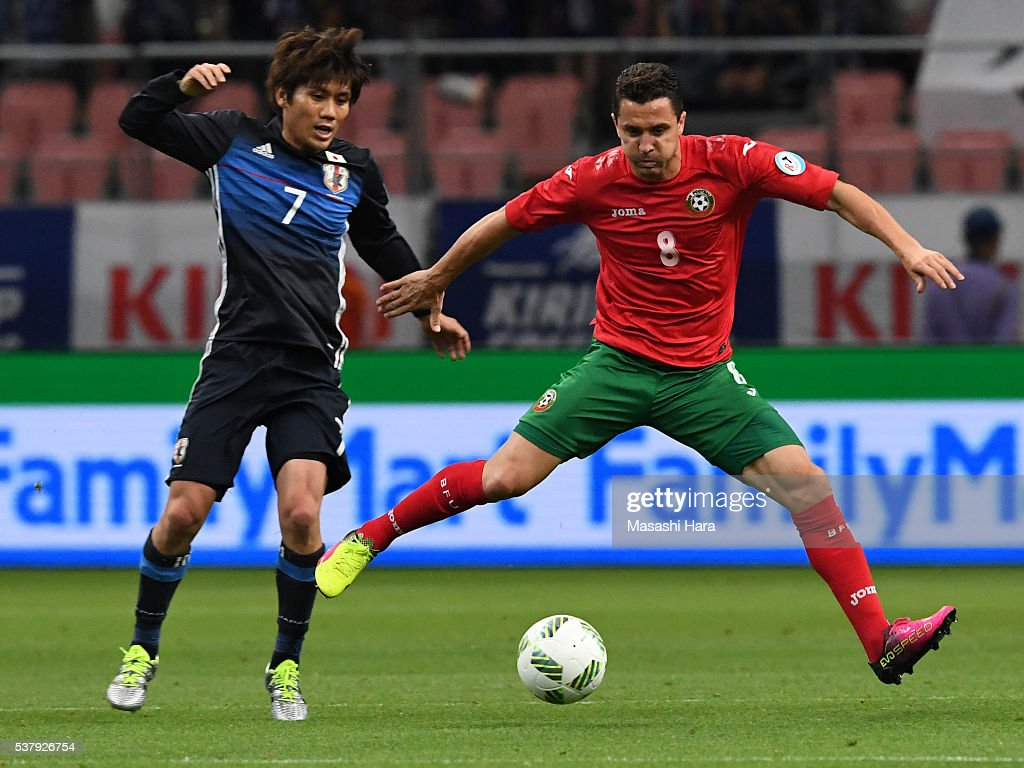 Dimitar Rangelov #8 of Bulgaria in action during the international friendly match between Japan and Bulgaria at the Toyota Stadium on June 3, 2016 in Toyota, Aichi, Japan.