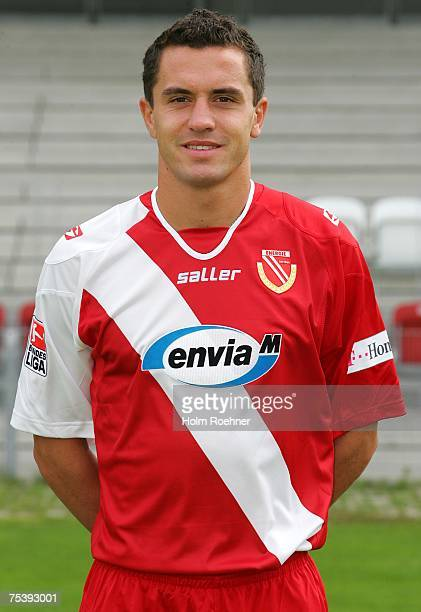 Dimitar Rangelov poses during the Bundesliga 2nd Team Presentation of FC Energie Cottbus on July 13 2007 in Jena Germany