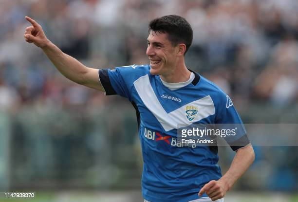 Dimitri Bisoli of Brescia Calcio celebrates his goal during the Serie B match between Brescia Calcio and Benevento Calcio at Stadio Mario Rigamonti...