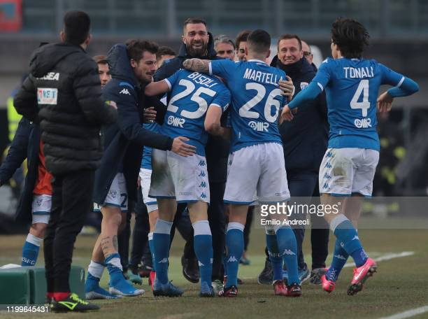 Dimitri Bisoli of Brescia Calcio celebrates with his teammates after scoring the opening goal during the Serie A match between Brescia Calcio and...