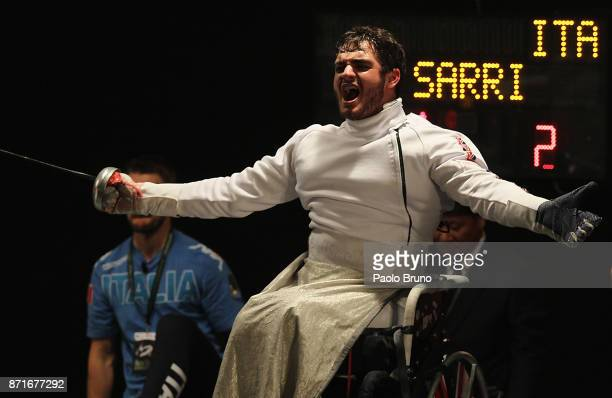 Dimitri Coutya of Great Britain celebrates after winning the Final Men's Epee fencing rounds during the IWAS Wheelchair Fencing World Championships...
