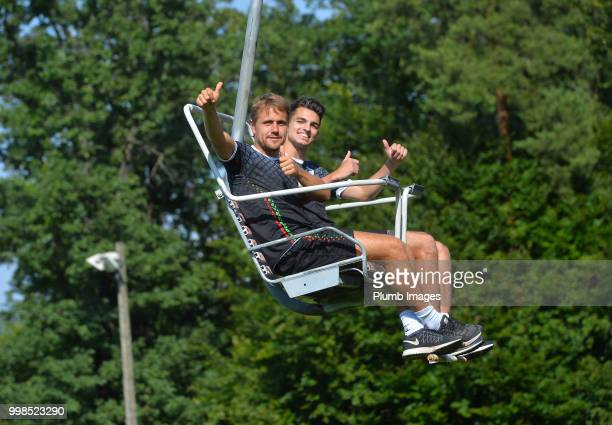 Dimitri Daeseleire with Jarno Libert during team bonding activities during the OHL Leuven training session on July 09 2018 in Maribor Slovenia