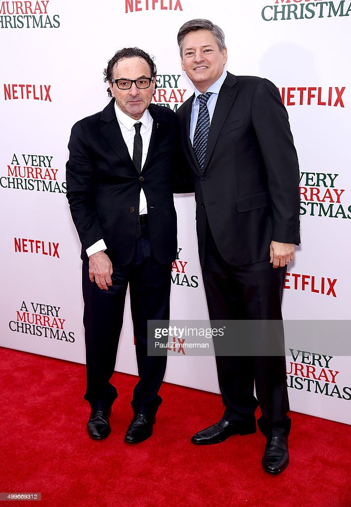 Dimitri Dimintrov (L) and producer Ted Sarandos attend 'A Very Murray Christmas' New York premiere at Paris Theater on December 2, 2015 in New York City.