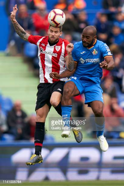 Dimitri Foulquier of Getafe CF battle for the ball with Yeray Alvarez of Athletic Club during the La Liga match between Getafe CF and Athletic Club...