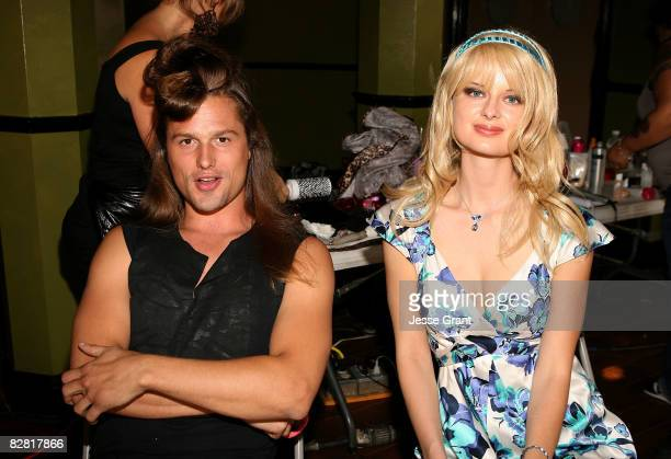 Dimitri Hamlin and actress Natalie Reid on the set of Brian Anthony's Worked Up music video shoot at the 20th Century Fox Lot on September 14 2008 in...