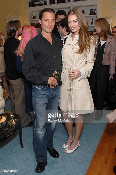 Dimitri Hamlin and Amber Arbucci attend Michael and Irena Medavoy host and Champagne Jouët toasts the Engagement of Brad Fischer and Karen Gold at...