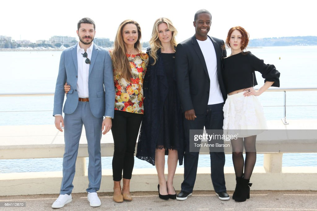 Dimitri Leonidas, Lena Olin, Julia Stiles, Adrian Lester and Roxane Duran attend 'Riviera' Photocall as part of MIPTV 2017 on April 3, 2017 in Cannes, France.
