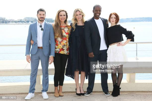 Dimitri Leonidas Lena Olin Julia Stiles Adrian Lester and Roxane Duran attend 'Riviera' Photocall as part of MIPTV 2017 on April 3 2017 in Cannes...