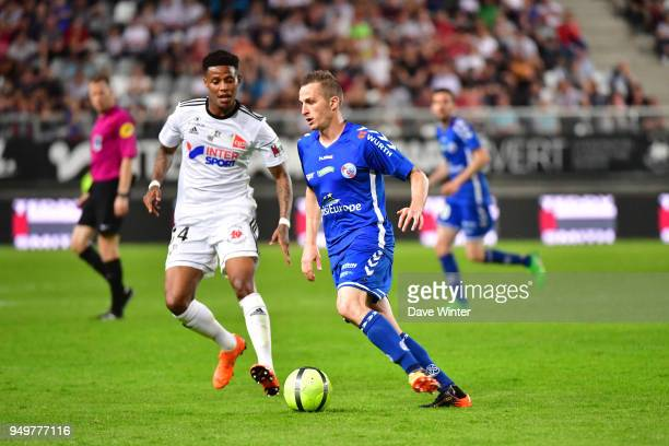 Dimitri Lienard of Strasbourg and Bongani Zungu of Amiens during the Ligue 1 match between Amiens SC and Strasbourg at Stade de la Licorne on April...