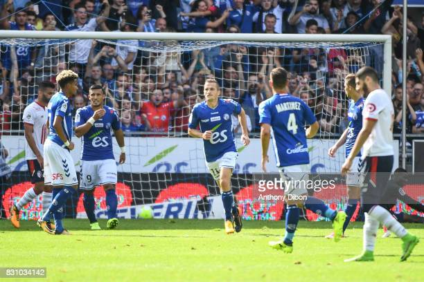Dimitri Lienard of Strasbourg celebrates his goal during the Ligue 1 match between Racing Club Strasbourg and Lille OSC at Stade de la Meinau on...
