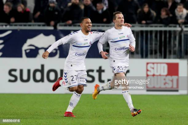 Dimitri Lienard of Strasbourg reacts after his goal during the Ligue 1 match between FC Girondins de Bordeaux and Strasbourg at Stade Matmut...