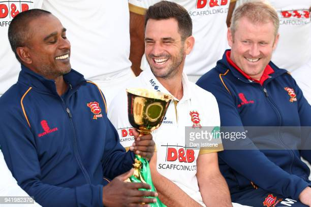 Dimitri Mascarenhas Assistant Head Coach of Essex County Cricket Club shares a joke with Team Captain Ryan ten Doeschate and Head Coach Anthony...