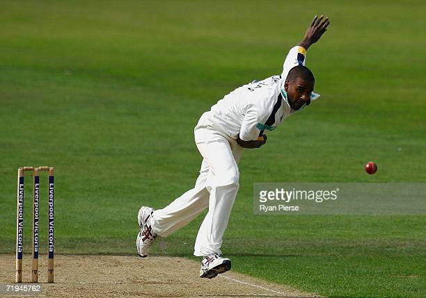Dimitri Mascarenhas of Hampshire bowls during the Liverpool Victoria Insurance County Championship match between Hampshire and Lancashire at the Rose...