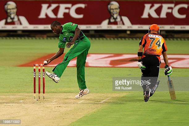 Dimitri Mascarenhas of the Stars attempts to take the wicket of Herschelle Gibbs during the Big Bash League semifinal match between the Perth...