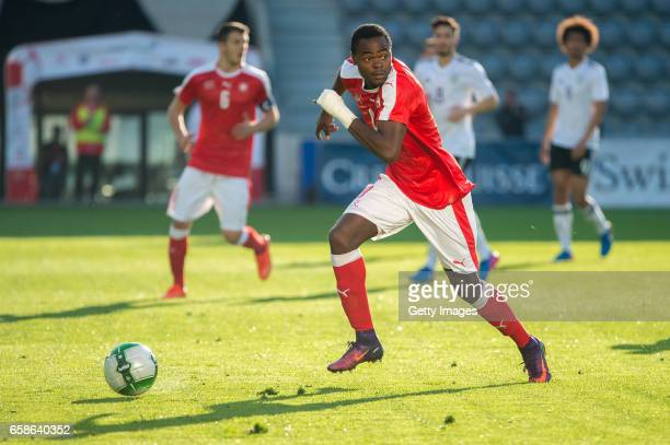 Dimitri Oberlin in action during the U20 international friendly match between U20 Switzerland and U20 Germany at Tissot Arena on March 27 2017 in...
