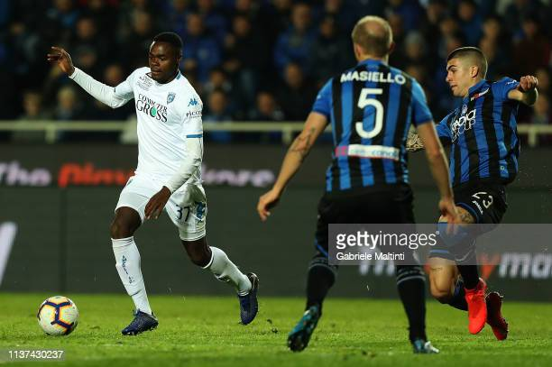Dimitri Oberlin of Empoli FC in action during the Serie A match between Atalanta BC and Empoli at Stadio Atleti Azzurri d'Italia on April 15 2019 in...