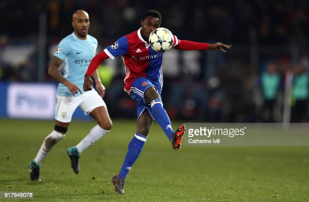 Dimitri Oberlin of FC Basel during the UEFA Champions League Round of 16 First Leg match between FC Basel and Manchester City at St JakobPark on...