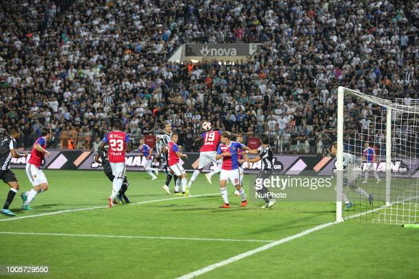 Dimitri Oberlin of FC Basel hits the ball during Champions League second qualifying round first leg football match between PAOK FC and FC Basel at...