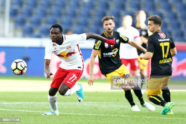 Dimitri Oberlin of Red Bull Salzburg in action during the Austrian Bundesliga match between Red Bull Salzburg and Cashpoint SCR Altach at Red Bull...