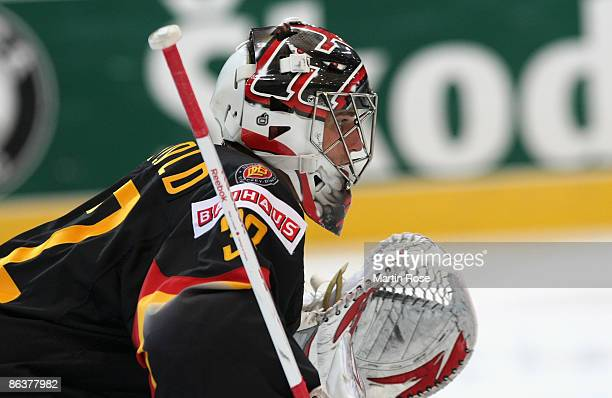 Dimitri Paetzold, goalkeeper of Germany seen during the IIHF World Ice Hockey Championship relegation round match between Germany and Denmark at the...