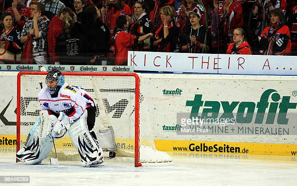 Dimitri Paetzold goalkeeper of Ingolstadt awaits the puck during the third DEL play off semi final match between Hannover Scorpions and ERC...