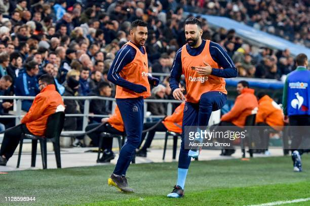 Dimitri Payet and Adil Rami of Marseille during the Ligue 1 match between Olympique Marseille and AS Saint Etienne on March 3 2019 in Marseille France