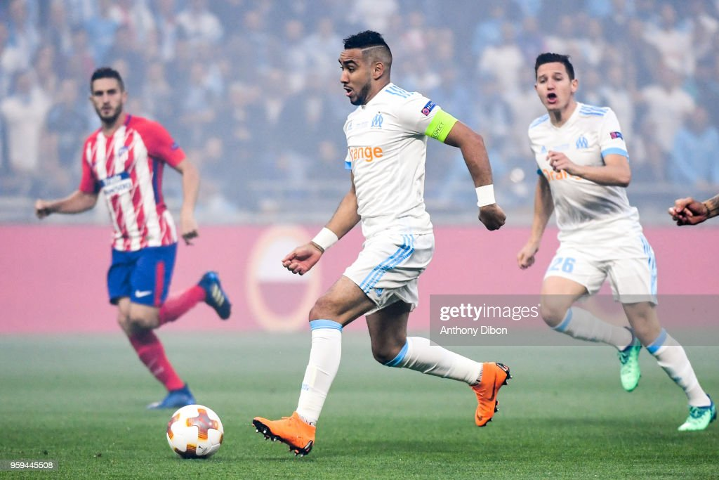Dimitri Payet and Florian Thauvin of Marseille during the Europa League Final match between Marseille and Atletico Madrid at Groupama Stadium on May 16, 2018 in Lyon, France.