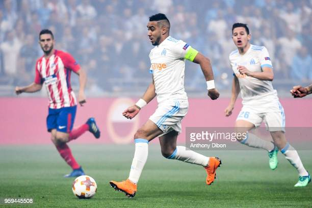Dimitri Payet and Florian Thauvin of Marseille during the Europa League Final match between Marseille and Atletico Madrid at Groupama Stadium on May...