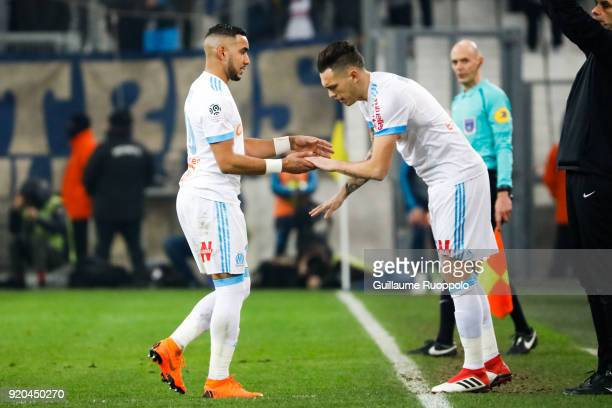 Dimitri Payet and Lucas Ocampos of Marseille during the Ligue 1 match between Olympique Marseille and FC Girondins de Bordeaux at Stade Velodrome on...