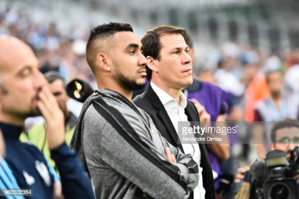 Dimitri Payet and Rudi Garcia Coach of Marseille during the Ligue 1 match between Olympique Marseille and Amiens SC at Stade Velodrome on May 19 2018...