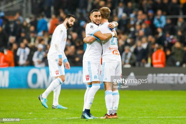 Dimitri Payet and Valere Germain of Marseille during the Ligue 1 match between Olympique Marseille and AS SaintEtienne at Stade Velodrome on December...