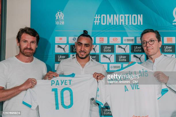 Dimitri payet, Andre villas boas , jacque henry eyraud during an Olympique de Marseille press conference at Centre Robert-Louis Dreyfus on June 27,...