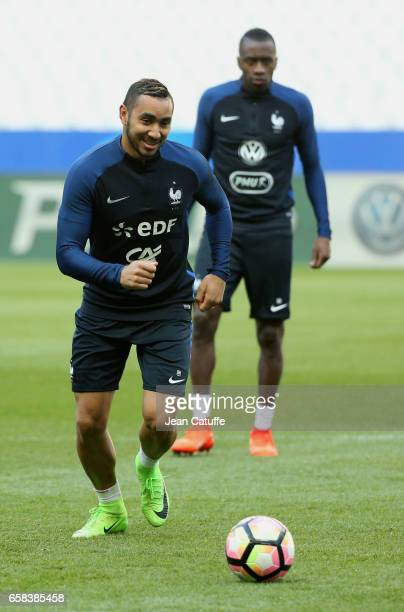 Dimitri Payet, Blaise Matuidi of France during the training session on the eve of the international friendly match between France and Spain at Stade...