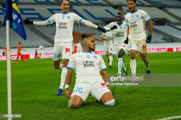 Dimitri Payet celebration during the Ligue 1 match between Olympique Marseille and Montpellier HSC at Stade Velodrome on January 06, 2021 in...