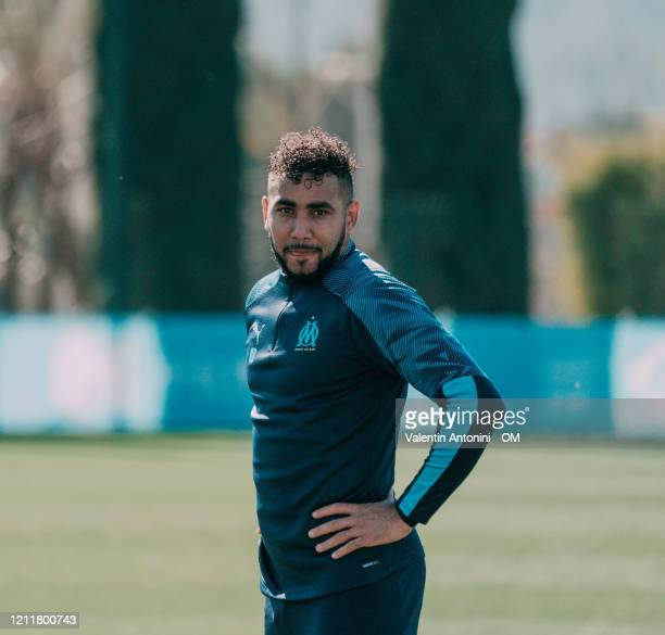 Dimitri Payet during an Olympique de Marseille training session at Centre Robert-Louis Dreyfus on March 11, 2020 in Marseille, France.