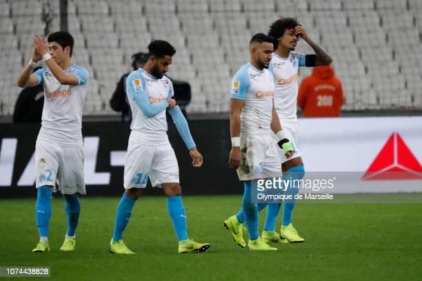 Dimitri Payet Luiz Gustavo and Jordan Amavi reacts during Olympique de Marseille v RC Strasbourg Coupe de la Ligue at Stade Velodrome on December 19...