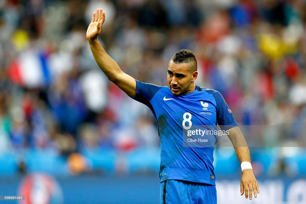 Dimitri Payet of France applauds supporters after his team's 2-1 win in the UEFA Euro 2016 Group A match between France and Romania at Stade de France on June 10, 2016 in Paris, France