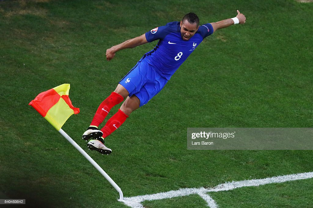Dimitri Payet of France celebrates after he scored his sides second goal during the UEFA EURO 2016 Group A match between France and Albania at Stade Velodrome on June 15, 2016 in Marseille, France.