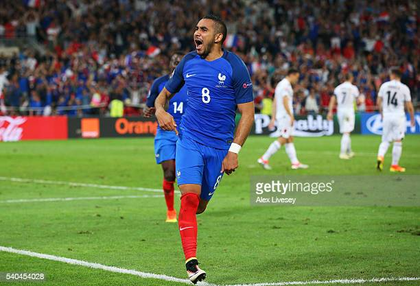 Dimitri Payet of France celebrates after he scored his sides second goal during the UEFA EURO 2016 Group A match between France and Albania at Stade...
