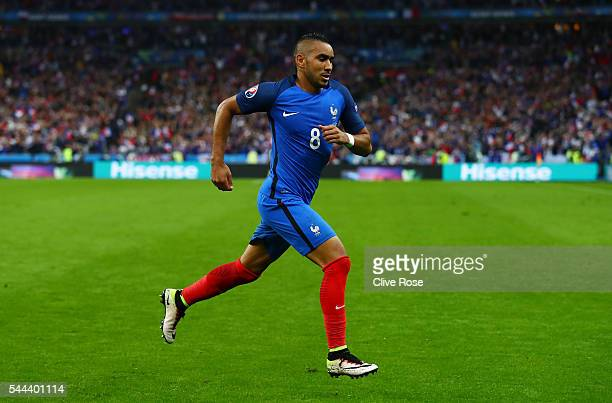 Dimitri Payet of France celebrates scoring his team's third goal during the UEFA EURO 2016 quarter final match between France and Iceland at Stade de...