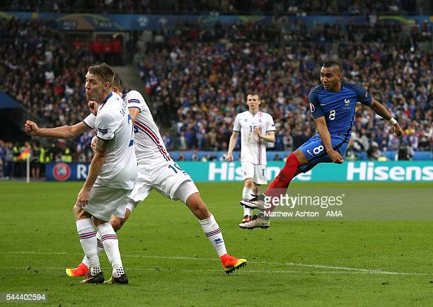 Dimitri Payet of France scores a goal to make it 30 during the UEFA Euro 2016 quarter final match between France and Iceland at Stade de France on...