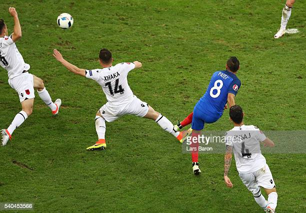 Dimitri Payet of France scores his sides second goal during the UEFA EURO 2016 Group A match between France and Albania at Stade Velodrome on June...
