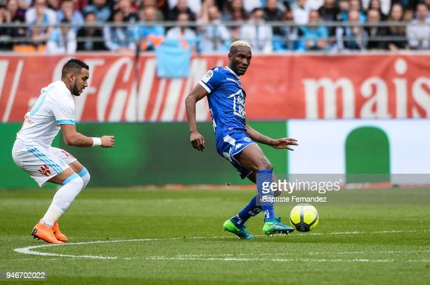Dimitri Payet of Marseille and Adama Niane of Marseille during the Ligue 1 match between Troyes Estac and Olympique de Marseille at Stade de l'Aube...