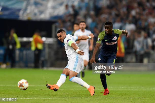 Dimitri Payet of Marseille and Diadie Samassekou of Salzburg during the Europa League semi final first leg match between Marseille and RB Salzburg at...