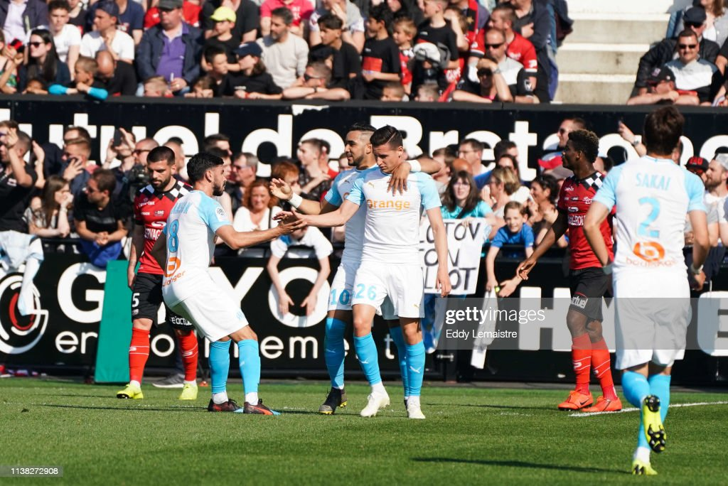 FRA: EA Guingamp v Olympique de Marseille - French Ligue 1