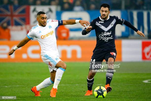 Dimitri Payet of Marseille and Gaetan LABORDE of Bordeaux during the Ligue 1 match between Olympique Marseille and FC Girondins de Bordeaux at Stade...