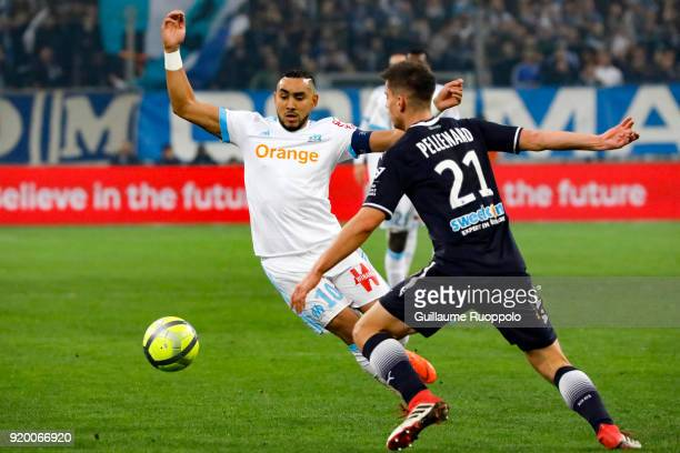 Dimitri Payet of Marseille and Theo PELLENARD of Bordeaux during the Ligue 1 match between Olympique Marseille and FC Girondins de Bordeaux at Stade...