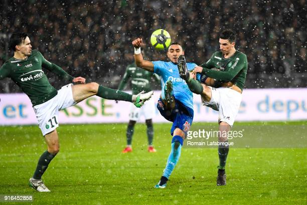 Dimitri Payet of Marseille and Vincent Pajot and Ole Selnaes of Saint Etienne during the Ligue 1 match between AS SaintEtienne and Olympique...