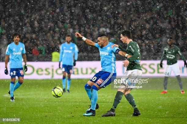 Dimitri Payet of Marseille and Vincent Pajot of Saint Etienne during the Ligue 1 match between AS SaintEtienne and Olympique Marseille at Stade...