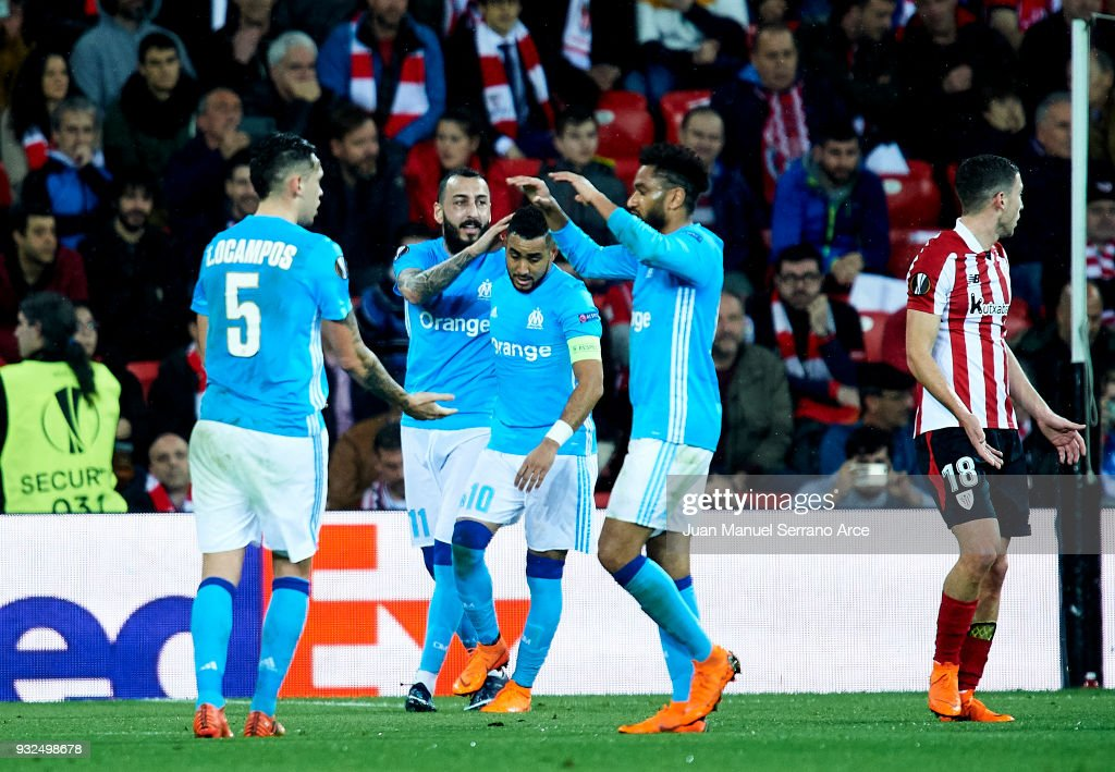 Dimitri Payet of Marseille celebrates after scoring during UEFA Europa League Round of 16, 2nd leg match between Athletic Club Bilbao and Olympique Marseille at the San Mames Stadium on March 15, 2018 in Bilbao, Spain.